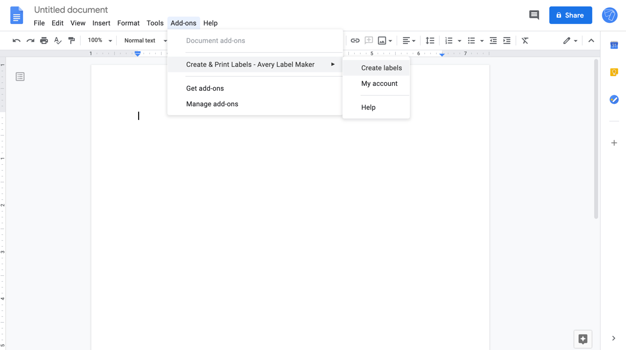 Addon menu to open Labelmaker in Google Docs