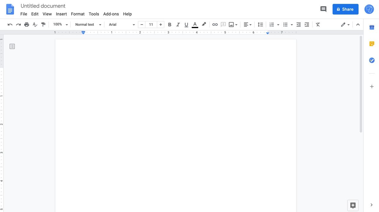 New blank document in Google Docs