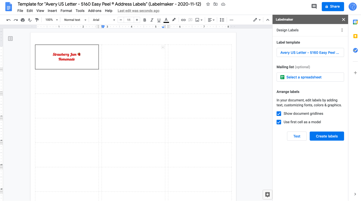 Screenshot of Labelmaker close and print labels in Google Docs